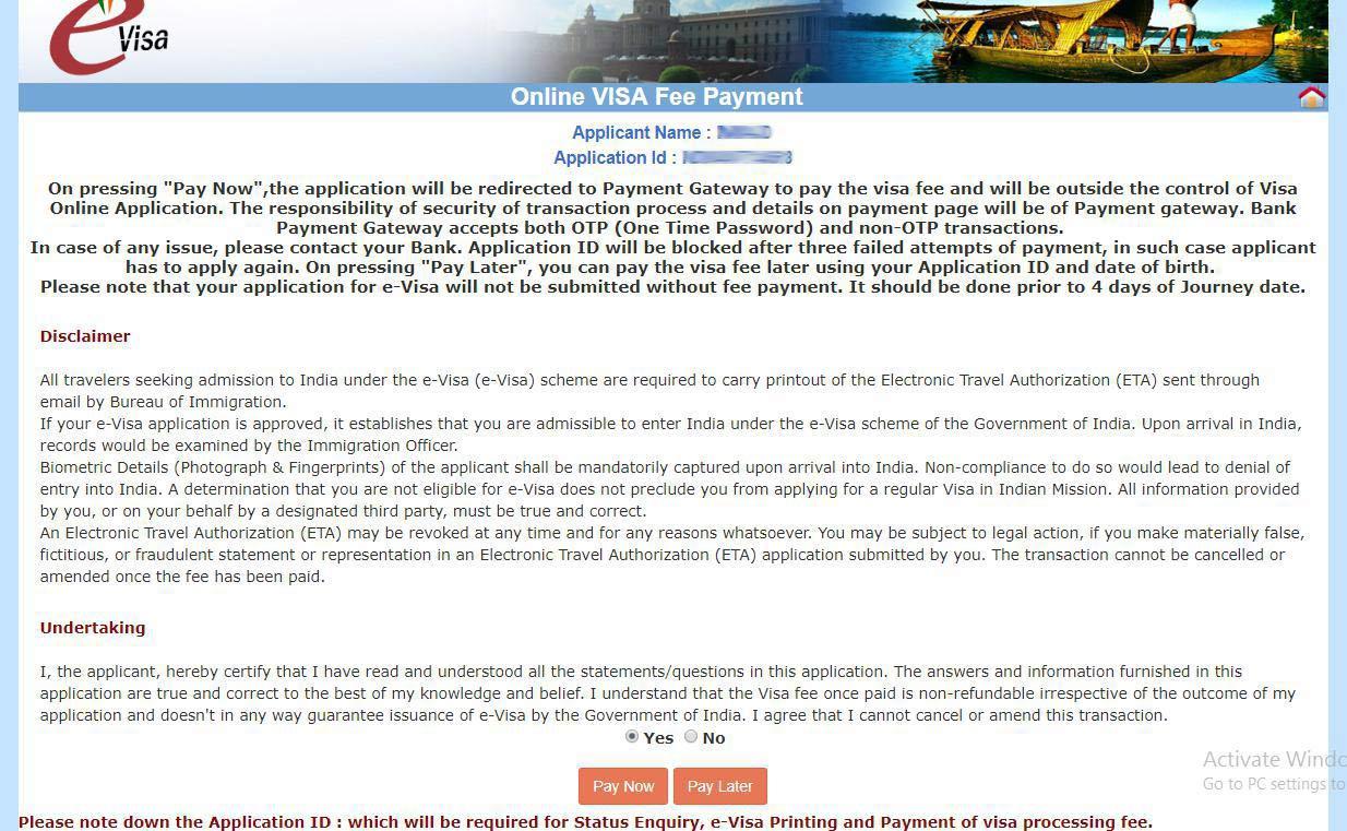 مرحله دهم پرداخت ویزای هند
